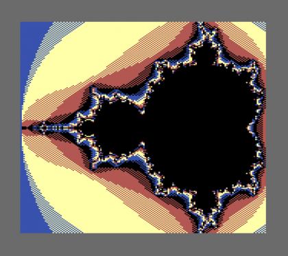 Figura 4: frattale di Mandelbrot ottenuto con un Commodere 128