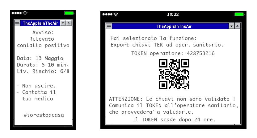 Esempi di avvisi generati dalle Tracing App. Le informazioni verranno  regolamentate dall'Autorità per la Privacy.