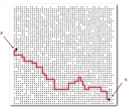 Figura 1: in questa immagine è mostrato l'esempio dell'algoritmo che ricerca la connessione fra due punti P e Q.