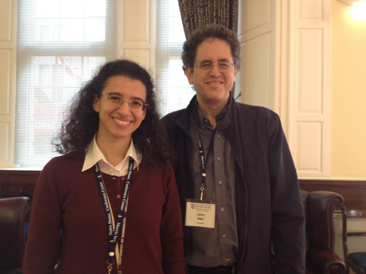 John Baez e Maria Mannone. Fotografia scattata presso la University of Notre Dame in London, il 5 ottobre 2018, durante una Conferenza si Fisica e Filosofia dedicata ad Emmy Noether.