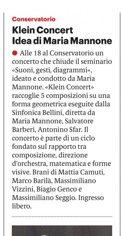 """Da """"Il Giornale di Sicilia"""", rubrica """"Vedere e Sentire"""" del 14 marzo 2019"""